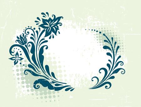 circle decorative grunge floral frame Vector