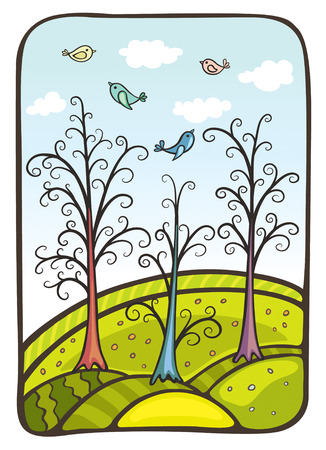 Vector illustration. Four birds fly by above a fantastic wood and hills