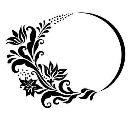vector illustration.black and white floral element