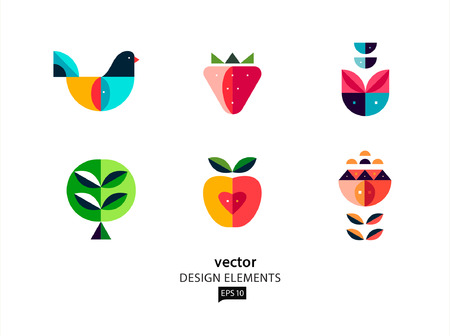 Vector design elements geometric bird and flower