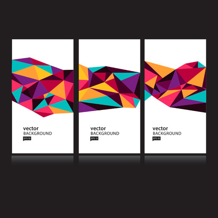 Vector Abstract Geometric Polygon Background. Card set 向量圖像