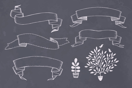 Vector set Hand drawn ribbons banner  Vector