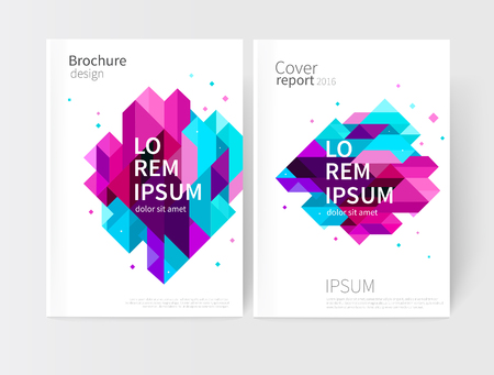 Brochure, leaflet, flyer, cover template. Abstract background blue, purple, violet & pink diagonal lines & triangles. stock-vector EPS 10