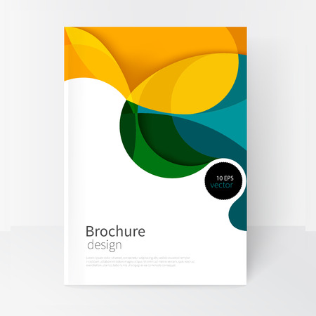 vector white business brochure cover template.modern abstract background green, yellow and blue waves