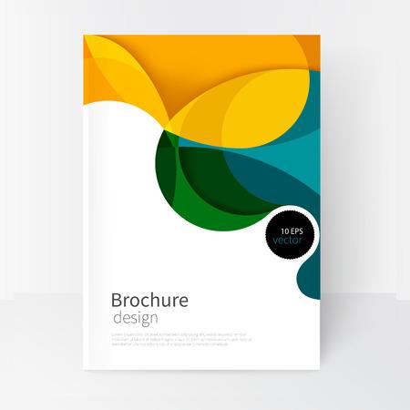 wektora pokrywa biały biznes broszura template.modern abstrakcyjne tło zielone, żółte i niebieskie fale