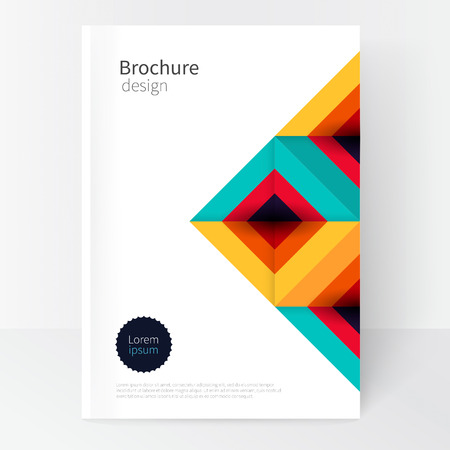 Modern Minimalistic cover template. Book design creative concept cover for catalog, report, brochure. turquoise, red & yellow abstract geometric background.geometric shapes Squares and triangles 스톡 콘텐츠