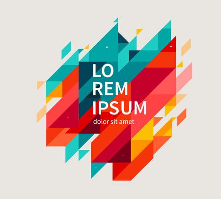 Diseño minimalista, concepto creativo, extracto fondo diagonal elemento geométrico moderno. Azul, líneas diagonales y triángulos amarillos y rojos. vector de la ilustración