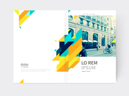 Minimalistic yellow Brochure. Flyer, booklet, annual report cover template. a4 size. modern Geometric Abstract background. Yellow and blue diagonal lines and triangles.