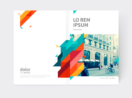 Minimalistic yellow and red Brochure. Booklet, annual report cover template. a4 size. modern Geometric Abstract background. Yellow, red and blue diagonal lines and triangles.