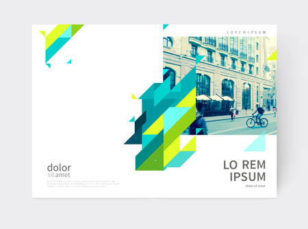 Minimalistic Brochure design. Annual report cover template. a4 size. Blue, yellow and green diagonal lines and triangles.