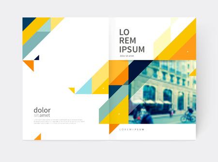최소한의 브로셔 디자인. 연간 보고서 표지 템플릿입니다. A4 크기입니다. 파란색, 노란색과 회색 대각선 삼각형. 벡터 - 재고 일러스트 레이 션 벡터 (일러스트)