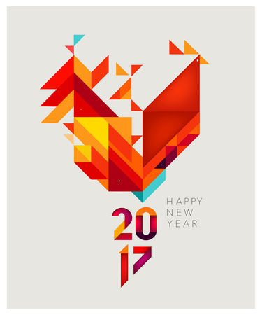 Minimalistic Vector abstract illustration. Red Rooster of geometric shapes. Chinese New Year 2017.