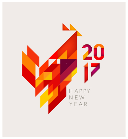 new years background: Minimalistic Vector abstract illustration. Red Rooster of geometric shapes. Chinese New Year 2017.