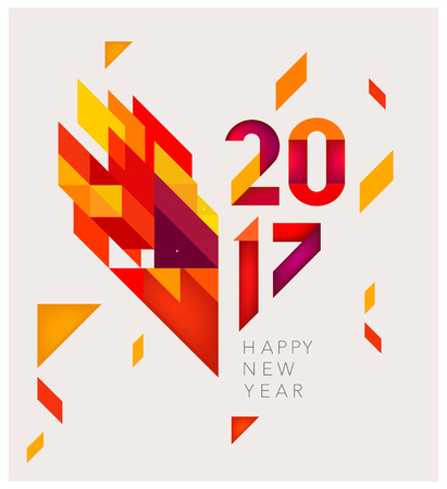minimalistic: Minimalistic Vector abstract background. Red  and yellow geometric shapes. New Year 2017. To design a calendar, postcards, flyers and other Christmas products. EPS 10