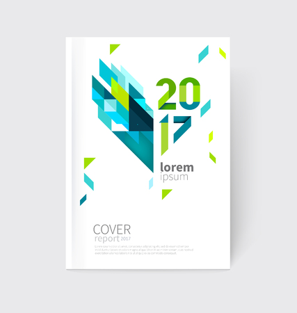 blue lines: White modern business brochure, leaflet, flyer, cover template. Abstract diagonal background blue and green lines and triangles. Stock Photo