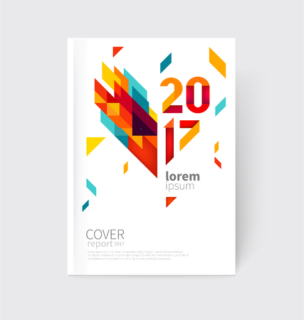 green card: White modern business brochure, leaflet, flyer, cover template. Abstract diagonal background blue, purple, yellow, red and green lines and triangles.