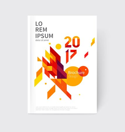 White modern business brochure, leaflet, flyer, cover template. Abstract diagonal background red and yellow lines and triangles.