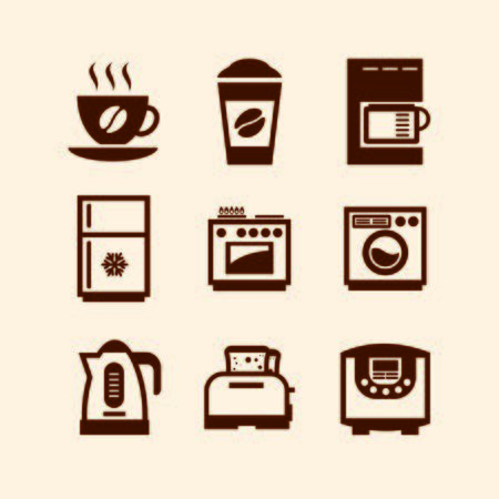 Set of monochrome icons on the theme of the kitchen Vector Illustratie