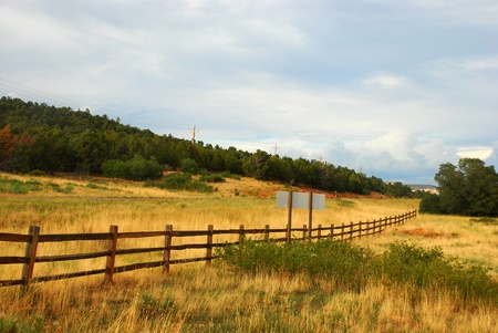 diagonal wooden ranch fence in the west  Stock Photo