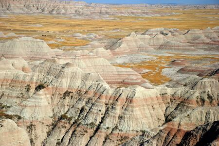 scoria: Striped colorful  hills, canyons, ravines of Badlands