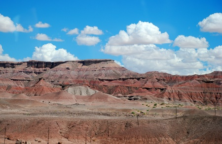 red cliffs, plateaus of Arizona and a blue sky with clouds Stock Photo