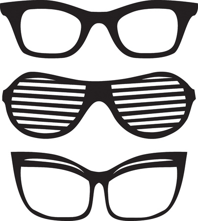 eyewear fashion: Three different  glasses vector  frames on white  background