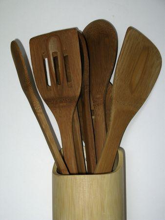 Bambú utensilios de cocina  Foto de archivo - 3080916