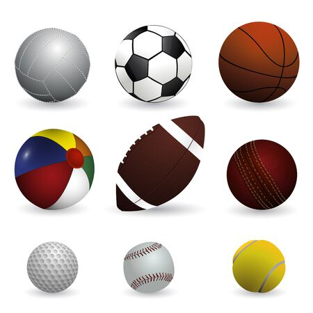 pelota de futbol: Ilustraci�n vectorial realista juego de bolas de deporte en el fondo blanco