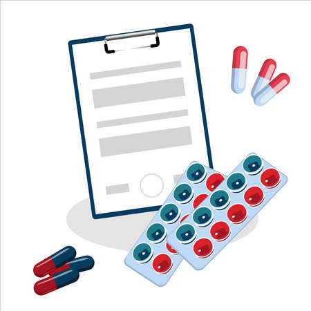 First aid kit, the doctor treats viruses, bacteria. Medicines, pills. Entries in the patient's card.