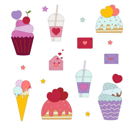 Desserts, cupcakes, glasses with coffee, flat vector illustrations isolated on white background. Cafeteria icons for cafes.