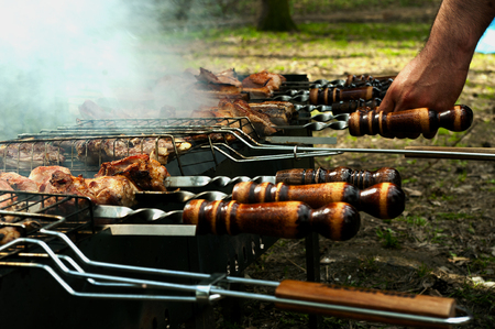 meat skewers: Grilled meat skewers, barbeque.