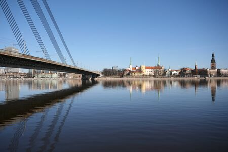 Old Town Panorama with River and Bridge Fragment in Sunny Day Stock Photo - 1655913