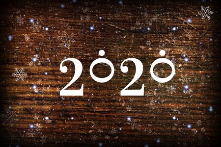 2020. Dark wood texture Christmas background 2020.