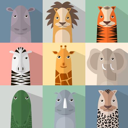 Flat dier icon set met schaduw. Afrikaanse dieren collectie. vinger dieren