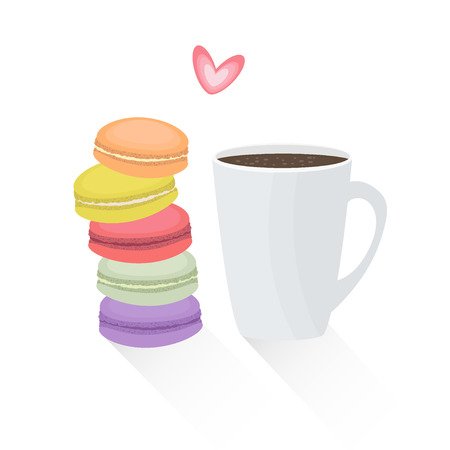 illustration of french cookie macaroons with cup of coffee. Tasty breakfast with macarons in flat style