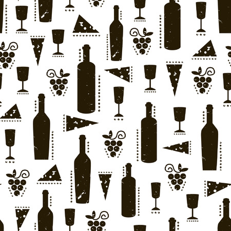wine  shabby: Texture with black wine bottles, glasses, cheese and grapes. Vintage shabby pattern on white background Illustration
