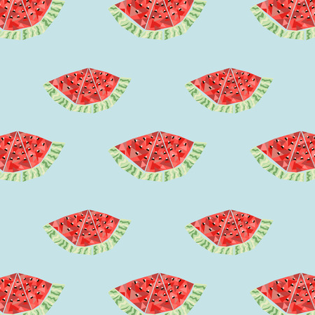 freshening: Vector abstract geometric background with watermelon, seamless pattern with watermelon, wrapping paper, simple ornament Illustration