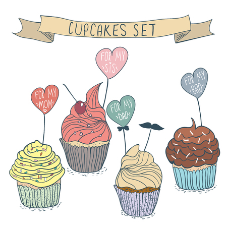 cupcakes isolated: Cartoon cupcakes set for family. Vector Illustration in hand drawn style. Colorful cute cupcakes isolated on white Illustration