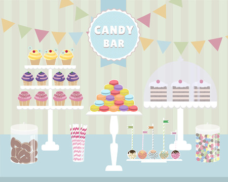 candy bar: Candy Bar vector illustration. Macaroons, cupcakes, chocolate cookies, cake pops, cakes. Illustration