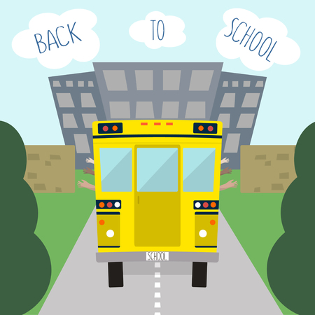 yellow schoolbus: Illustration of school bus. Back to school  in flat style illustration Illustration