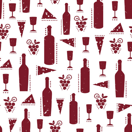 Texture with vinous wine bottles, glasses, cheese and grapes. Vintage shabby pattern on white background Vectores