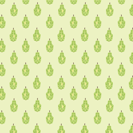 lobule: Seamless pattern with geometric pears. Vector texture with fruits on green background