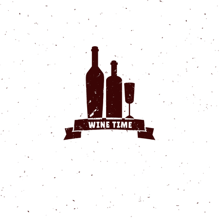 wine  shabby: Vector wine logo isolated on white. Vintage wine label with wine bottle and wine glasses. Template for wine festival, wine shop etc