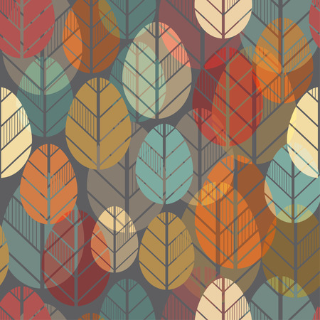 Seamless pattern with autumn leaves. Vector texture ready for textile, wallpaper, wrapping paper etc. 矢量图像