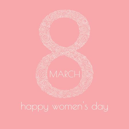 whorls: 8 March. Happy womens day. greeting card with hand drawn number 8. Delicate design with whorls