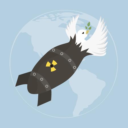 bombe atomique: La paix blanche colombe avec le rameau d'olivier. illustration avec colombe et bombe atomique sur le ciel bleu. Mod�le pour le jour de la paix internationale