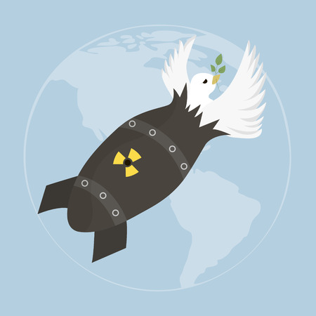 atomic bomb: Peace white dove with olive branch. illustration with dove and atomic bomb on blue sky. Template for International peace day Illustration