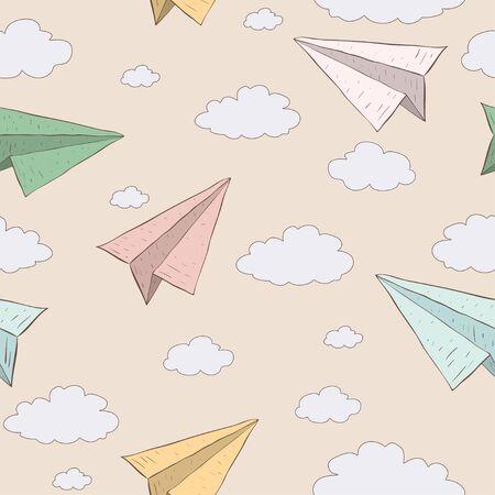 paper craft: avión de papel de dibujos animados en el cielo. Vectores