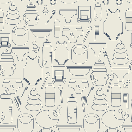 baby foot: Seamless pattern babys goods.