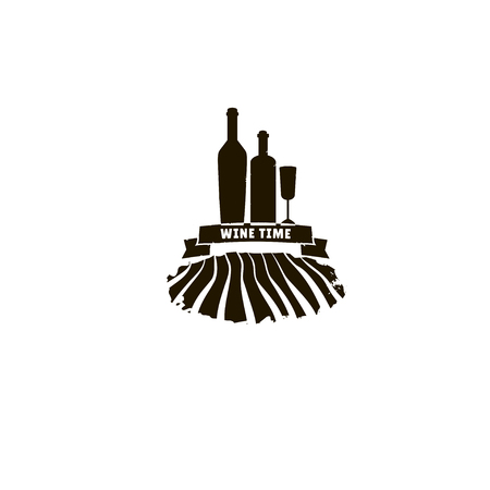 wine  shabby: Wine logotype in grunge style.